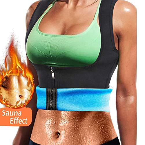 Nueva Chaleco Sauna Deportivo Mujer Fajas Reductoras Adelgazantes Abdominal Neopreno Camiseta Sudoración Compresión de Cremallera para Deporte Fitness (Azul, S)