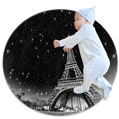 Alfombra de área Redonda Alfombra Paris France Alfombrilla Antideslizante de 39,4 Pulgadas de diámetro para Sala de Estar, Dormitorio