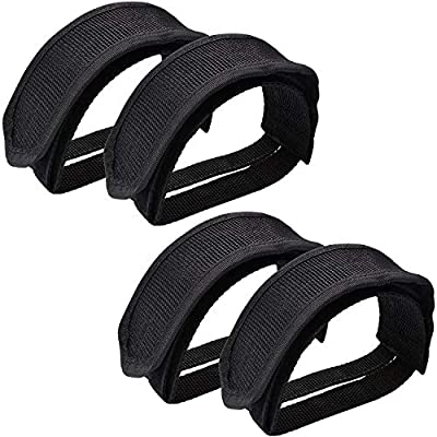 Qeedy Bike Pedal Straps Pedal 2 Pieces Universal Bicycle Feet Strap Pedal Straps Toe Clips Straps Tape for Fixed Gear Bike (Black (2 Pieces))