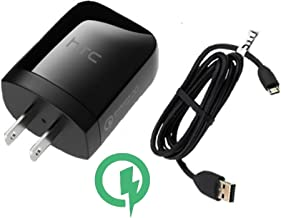Rapid Charger (Quick Charge 2.0) HTC One (M8) max SmartPhone will Charge up in a blink, up to 60% faster than conventional chargers! [3ft Cable, 15W Dual Voltage!]