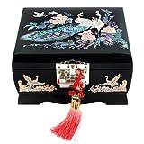 Joyero con Madreperla Diseño Pavo Real Madera Negra Pájaro Espejo Mujeres Cofre de Joyería Regalo Musical Asiático Caja Lacrada Organizador