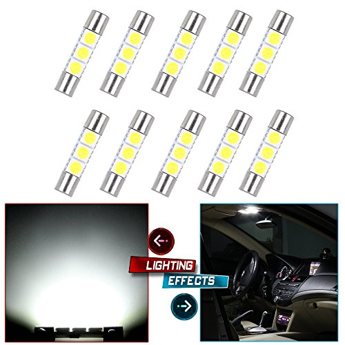 cciyu 28mm-31mm 5050 3SMD LED Fuse Vanity Mirror Light Bulb Festoon 6614 Fuse LED Light 6641 TS-14V1C Replacement fit for Car Interior Sun Visor Vanity Mirror Light