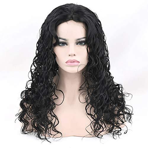 FH JIAFA - Perruque de Haute qualité Perruque de Haute qualité Noir à la Mode des Cheveux Noirs de Cheveux bouclés délicat Rose Net Nature