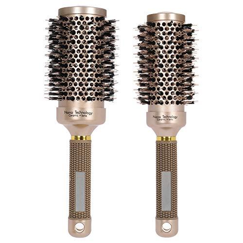 Rundbürste Haarbürste, Runde Haarbürste mit Wildschweinborsten, Rundhaarbürsten Bürste zum Stylen Lockenwickeln Haarbürste (53mm + 45mm)