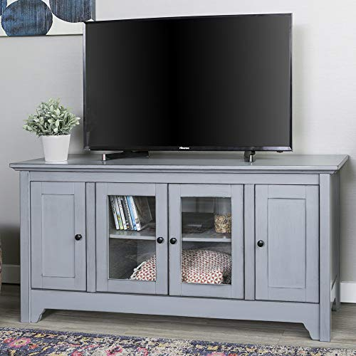 Walker Edison Furniture Company Wood Universal Stand with Storage Cabinets for TV's up to 58' Flat Screen Living Room Entertainment Center, 52 inch, Grey