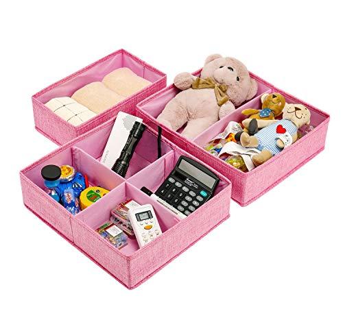BrilliantJo Leinwand Aufbewahrungsboxen für Kinderzimmer, 3er Set Faltbare Schubladen Organizer Unterwäsche Socken Box Ordnungssystem Stoffbox für Kind, Unterwäsche, Kopfschmuck Rosa