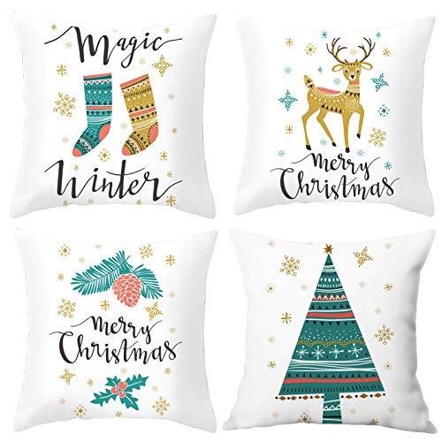 Sunshine smile 4 pcs Fundas navideñas para Cojines,Funda de Almohada de Navidad,Funda de Almohada Decorativa,Funda...