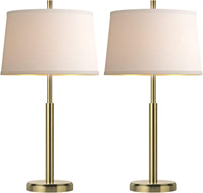 Oneach Modern Table Lamps Set of 2 for Living Room Nightstand & Side Table Lamps with White Drum Shade Bedside for Bedroom Study Office Gold