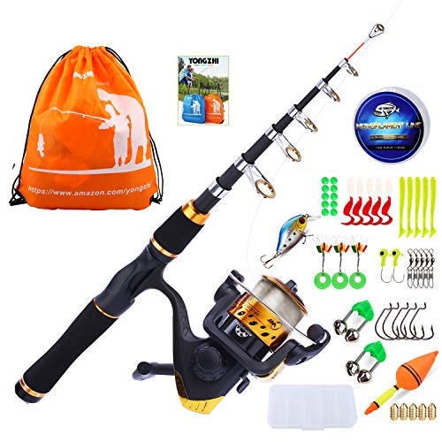 YONGZHI Kids Fishing Pole with Spinning Reels,Telescopic Fishing Rod,Shoulder Pocket,Manual,Full Kits Tackle Box for Travel Freshwater Bass Trout Fishing-G