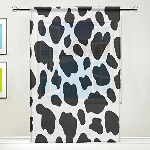 Use7 Blanc Noir Imprimé Vache fenêtre Sheer Panneaux de Rideaux 139,7 x 213,4 cm, 1 pièce Moderne de la fenêtre Panneau pour Enfants Home Living Salle à Manger Salle de Jeux Décoration