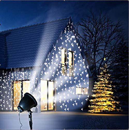 Faro a LED  fiocchi di neve  – Faretto con testa rotante per illuminazione su grandi superfici – Resistente alle intemperie – Ø 14 cm H 37 cm – incl. picchetto – spina IP44 – Lunghezza cavo: 3 m