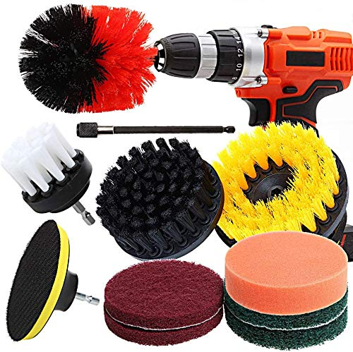 Drill Brush Ultimate Automotive Cleaning Kit With Extension bohrmaschine bürstenaufsatz Cleaning Brush Power Scrubbing auto Bürste für Auto, Teppich, Badezimmer, Holzboden, Waschküche (11pcs Rot)