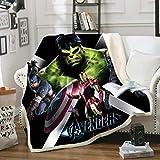 XFMF Marvel Avengers Fleecedecke für Kinder,Ironman,Hulk,Thor Anime Cartoon,Digitaldruck 3D,für Kinder & Erwachsene Geschenk Avengers (26,130×150cm)