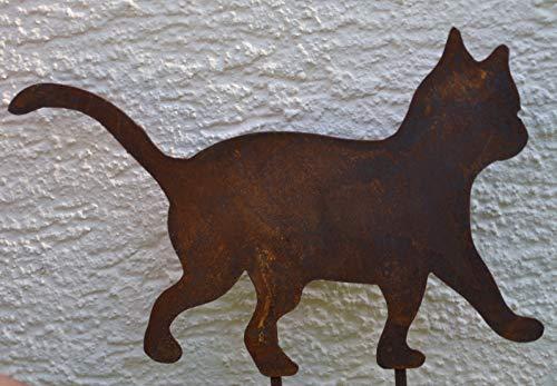 Maison en France Gartenstecker Katze aus Metall + Edelrost, Gesamthöhe 33,5 cm -Qualitativ hochwertige Katze auf Stab