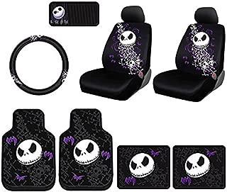 2pc Nightmare Before Christmas NBC Jack Skellington Purple Bats and Cross Bones Tim Burton Disney Front Auto Car Truck SUV Vehicle Rubber Floor Mats Set