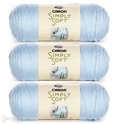 (3-Pack) Caron Simply Soft 100% Acrylic Yarn ~ SOFT BLUE # 9712 ~ 6 oz. Skeins