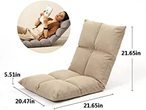 Adjustable Floor Gaming Sofa Chair Cushioned Folding Lazy Recliner Sleeper Bed Couch Recliner Sofa Balcony Living Room Leisure Reclining Chair,Beige,A