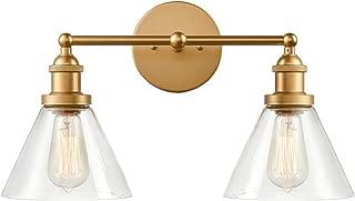 CLAXY Wall Sconce 2-Light Brass Bathroom Wall Lamp Glass Shade
