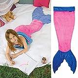 Meerjungfrau Decke Flanell Decke Fischschwanz Decke für Mädchen Damen Schlafsack Alle Jahreszeiten 50 x 150cm Rosa Blau