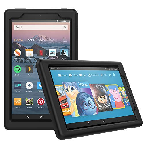 MoKo Case Fits All-New Amazon Fire HD 8 Tablet (7th and 8th Generation, 2017 and 2018 Release) - Light Weight Shock Proof Soft Silicone Back Cover [Kids Friendly] for Fire HD 8, BLACK