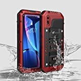Compatible iPhone XR Case, Waterproof Cell Phone Case for Apple Phone 10R with Stand, Shockproof Military Grade Heavy Duty Silicone with Screen Protector Full Body Rugged Armor Metal Cover RX Red
