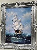 Cuadros de velero, barco antiguo en el mar, 90 x 70 cm, cuadro de pared, pintura antigua, impresión artística, con marco de plata barroco