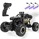 4DRC C3 RC Cars Off Road Monster Truck,Remote Control Car ,1:16 Metal Shell 2.4G 4WD Dual Motors,10-20 MPH Speed ,All Terrain Hobby Truck with 3 Batteries for 90 Min Play,Boy Adult Gifts Toys,Black