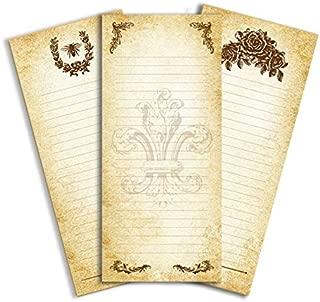 """Vintage Parchment Tall Note Pads- Set of 3 assorted Fleur De Lis, Queen Bee & Vintage Rose 3.6x8.5"""""""