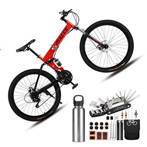 Dual Suspension Mountain Bikes,26' Folding Mountain Bicycle Bike 27-Speed transmission MTB(Free repair kit and water bottle*1),Red