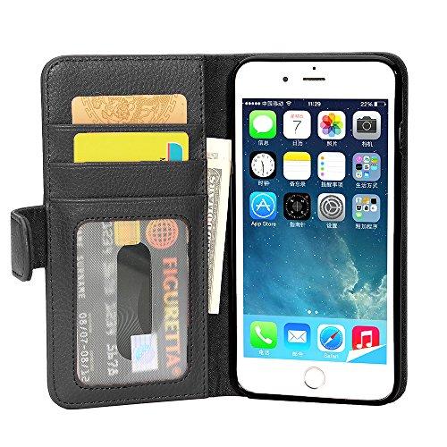 Cadorabo Hülle für Apple iPhone 8 Plus/iPhone 7 Plus/iPhone 7S Plus in Oxid SCHWARZ – Handyhülle mit Magnetverschluss & 3 Kartenfächern – Hülle Cover Schutzhülle Etui Tasche Book Klapp Style
