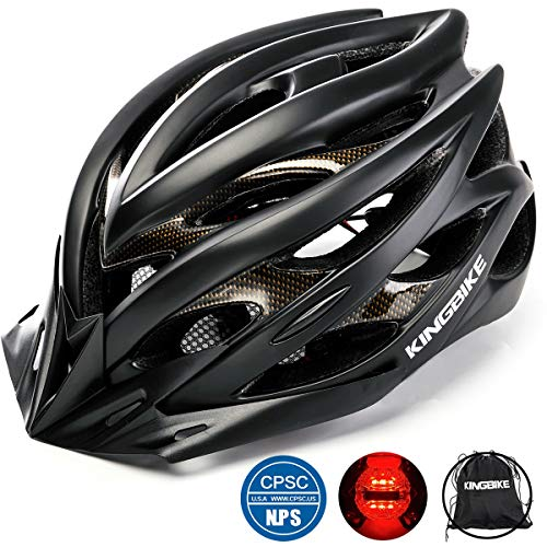 Kingbike Bike Helmet Men Women Bicycle Adult Cycling Specialized Road Mountain MTB Helmets For Mens Womens Adults Casco Para Bicicleta with Safety Light Portable Bag Accessories (Black)
