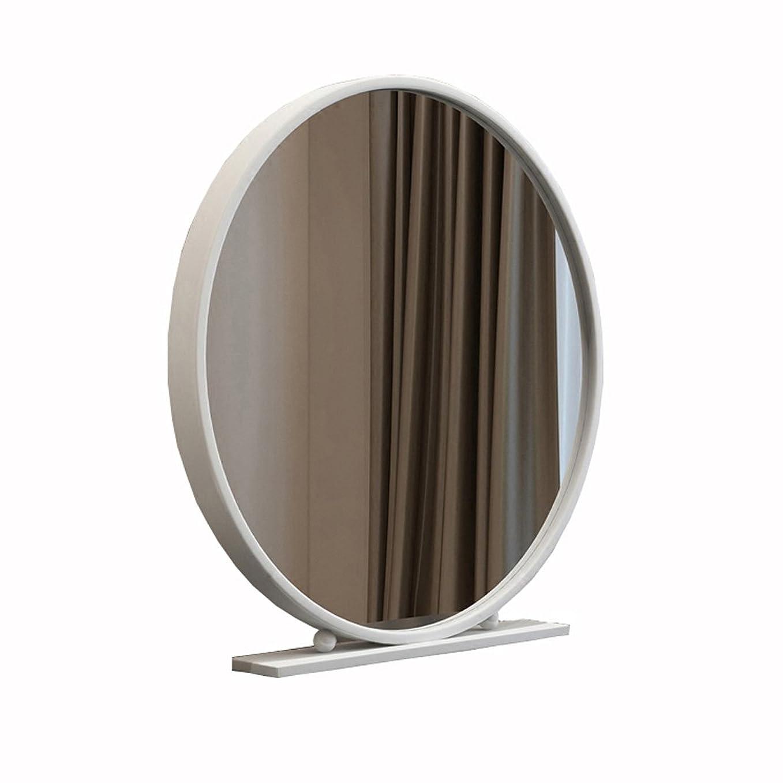 北欧鍛造鉄片面ラウンドミラーデスクトップベッドルームデスクトッププリンセスドレッシング美容ミラー (色 : 白, サイズ さいず : 70cm)