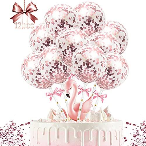 Cake Topper Globos, 12 Piezas Topper Tarta Cake Topper de Cumpleaños Topper de Pastel Decoración para Tartas Confeti Globos de Tartas, para Bodas Fiestas Cumpleaños Tartas (oro rosa)