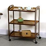 Carrito de servicio con ruedas de bambú, con 3 niveles, estantería de cocina, estilo vintage, mueble de almacenamiento para casa, hotel, restaurante, hotel, 60 x 33 x 74 cm