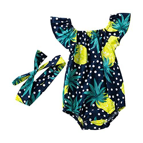 Huihong Neugeborenes Baby Mädchen Sommer Strampler Ananasdruck Geraffte Ärmellos Jumpsuit Kleinkind Mädchen Bodys Einteiler Kleidung (Marine, 59)