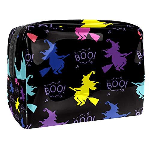 Kosmetiktasche Farbige Hexe Reise Make-up Tasche multifunktional Kleine Make-up Organizer Waschtasche Wäschesack für Frauen und Mädchen 18.5x7.5x13cm