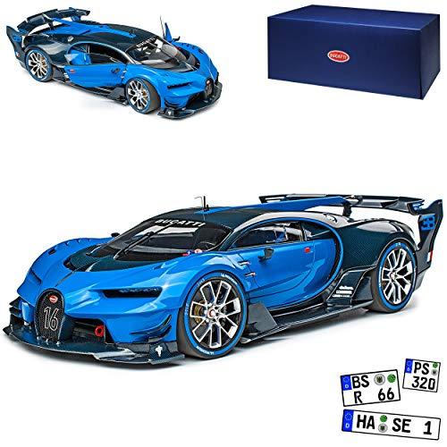 AUTOart Bugatti Chiron Vision GT Gran Turismo Coupe Blau mit Schwarz Ab 2016 70986 1/18 Modell Auto