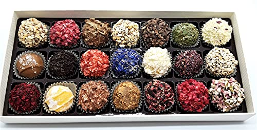 Handgemachte Trüffeln von Nelleulla aus Lettland mit gefriergetrockneten Früchten, 21 Stück ca. 330g, u.a. mit Feigentrüffel, Erdbeertrüffel, Sanddorn Kornblume, Haselnusstrüffel und Himbeertrüffel