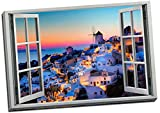 Panther Print Greek Islands Holiday Sunset View 3D Window Effect Canvas Print Picture Wall Art Large 30X20 Inches