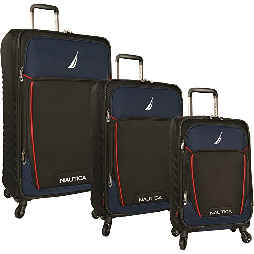 Nautica 3 Piece Expandable Spinner Set 2, Black/Blue, One Size