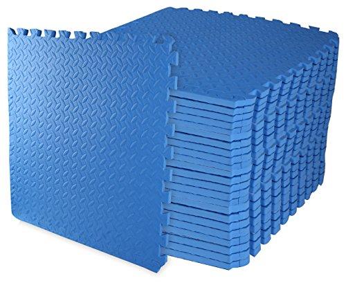 BalanceFrom Puzzle Exercise Mat with EVA Foam Interlocking Tiles (Blue) - Pack of 24