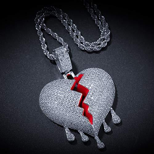 Hip Hop Jewelry Iced-Out Ketting voor mannen of vrouwen vergulde cz Volledig Bling Water Drop Gebroken Hart Hanger met RVS ketting,Silver + 24inch rope chain