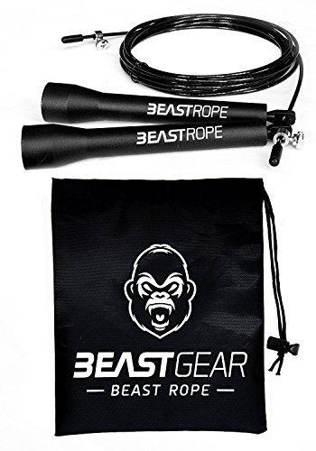 High speed jump rope from Beast Gear. Jump rope for CrossFit, Boxing, MMA. Adjustable Length and Light Bearings, Ideal for Double Jumps. Lifetime warranty