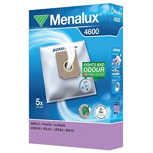 Menalux 4600 - Pack de 5 bolsas sintéticas y 1 filtro para aspiradoras Clatronic, Fagor y Ufesa Mini Mousy, Froggie y Boggi