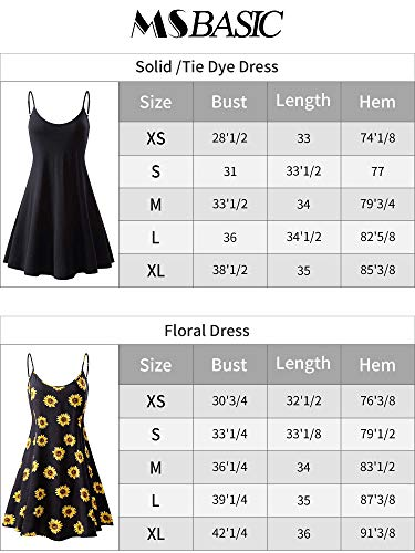 MSBASIC Women's Sleeveless Adjustable Strappy Summer Swing Dress (X-Large, MS6216-8)
