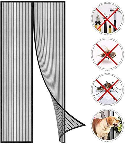 Magnetische Hordeur, Superfijn Gaasgordijn, Magnetische Sluiting Van Boven Naar Beneden Sluit Automatisch, Houdt Frisse Lucht Binnen Geschikt Voor Deuren En Ramen,Black,100 * 220cm / 39 * 86