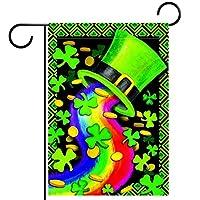 春夏両面フローラルガーデンフラッグウェルカムガーデンフラッグ(28x40in)庭の装飾のため,Happy patrick's day green hat シャムロック クローバー リーフ