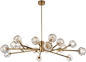 "Efperfect Modern Sputnik Chandelier 18-Light Crystal Pendant 43"" LED Ceiling Light Pendant, Cut Crystal with G9 LED Bulbs (Gold)"