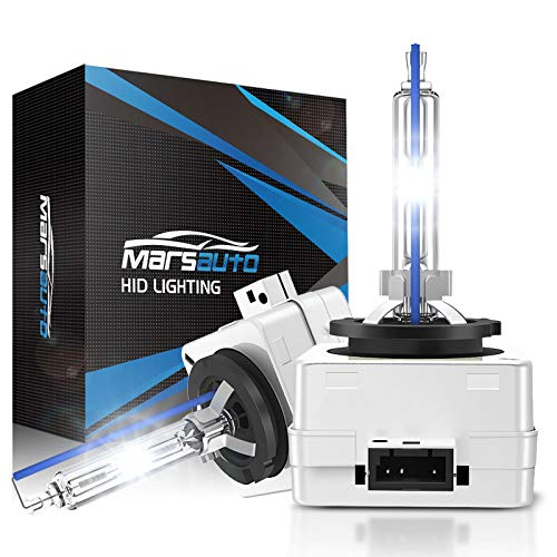 Marsauto D1S HID Headlight Bulb, High Low Beam, 6000K Diamond White Xenon Replacement Bulbs with Metal Stents Base, 35W 12V, Pack of 2