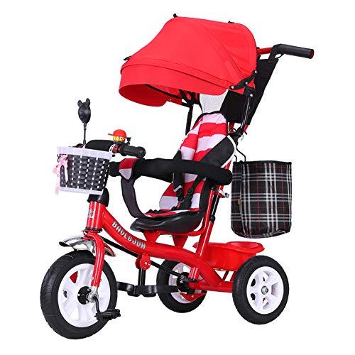 Shuhong kinderwagen, driewieler, 3-wieler, 4-in-1, afneembare duwstang, rubberen wiel (niet opgeblazen), 1-6 jaar zitting verstelbaar